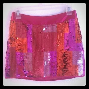 Pink sequin mini skirt by Express